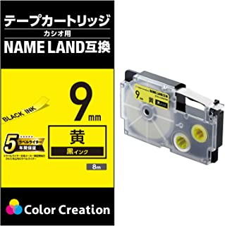Color Creation Name Land 胶带 1个 9mm 黄色/黒文字