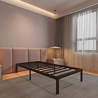 14 英寸(约 35.5 厘米)金属平台床架/重型钢板床垫基础/无需弹簧/无噪音/防滑/黑色饰面,单人床 XL