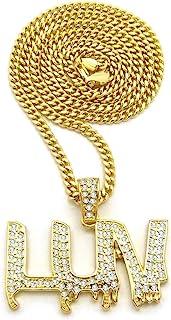 男士 RAPPER'S LUV 吊坠金色 ICED OUT HIP HOP CUBAN、BOX、ROPE 链条项链