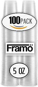 Framo 5盎司透明塑料杯,适合任何场合,不含 BPA 一次性透明冰茶、果汁、苏达和咖啡杯,适合派对、野餐、烧烤、旅行和活动(300,透明) 透明