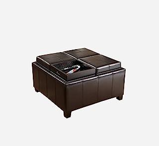 *畅销的梅森皮革浓缩咖啡托盘顶部储物脚凳