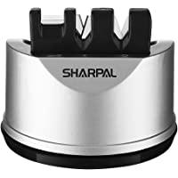 SHARPAL 191H 口袋厨房厨师刀和剪刀磨刀器,适用于直刀和锯齿刀,3 阶刀磨刀工具有助于修复和恢复刀片