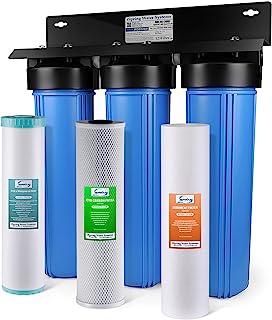 iSpring WGB32BM 3 级全屋滤水系统,带 50.8 厘米大蓝色沉积物,碳块,铁和锰减少过滤器