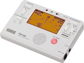 KORG TM-60 调音器和节拍器组合,带接触麦克风,手持调谐器,白色,适用于木片和锡制吹器,TM60CWH