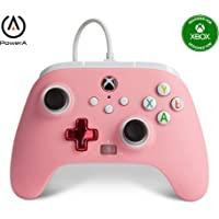 PowerA 增强型有线控制器 适用于 Xbox - 粉色内联、游戏手柄、有线视频游戏控制器、游戏控制器、Xbox 系列…