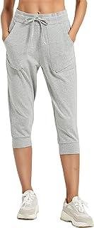PULI 女式卡普里运动裤慢跑休闲运动裤 棉质抽绳带口袋