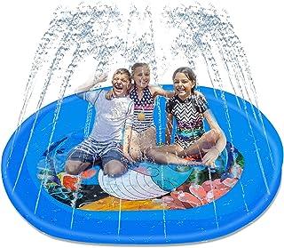 NIDEZON 飞溅垫,75 英寸(约 190 厘米)洒水器垫 3 合 1 涉水池,适合儿童和成人的2021 *户外水上玩具,适合户外夏季游戏和派对,海洋动物设计的涉水泳池。