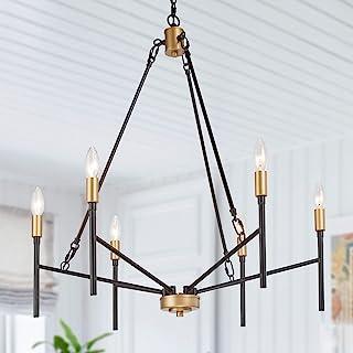 LALUZ 枝形吊灯,现代枝形吊灯灯具,带 6 个浅黑色和金色蜡烛灯支架,适用于门厅、餐厅和客厅,厨房(*大 40W,6 个镜腿)