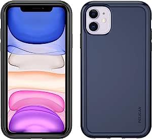 Pelican iPhone 11 手机壳,冒险家系列 – *级跌落测试,TPU,聚碳酸酯保护套,适用于 Apple iPhone 11(蓝色/灰色),型号:C56100-001A-BLDG