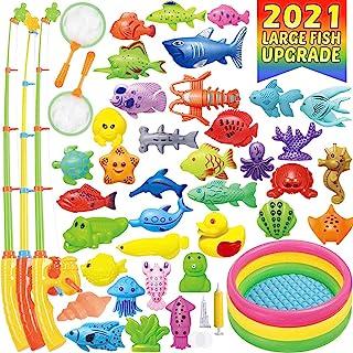 CozyBomB 磁性钓鱼游戏玩具大套装 – 57 件夏季户外后院水玩具带儿童游泳池,漂浮杆鱼 – 儿童学步教育教学和学习 Mega