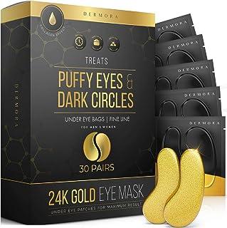 24K 金眼罩 – 30 对 – 蓬松眼部和黑眼圈护理 – 看起来更少累赘,减少眼部皱纹和细纹,恢复肌肤活力