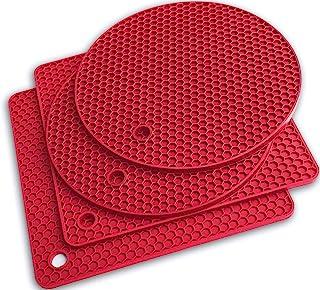 Q's INN 硅胶三脚垫 热锅座 干燥垫。 我们的 7 合 1 多功能厨房工具耐高温 440 °F,防滑,耐用,灵活,易于清洗和干燥,含 4 片。 红色 TRV2S2RRD