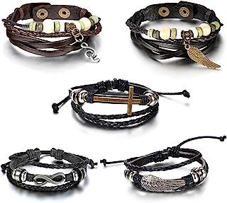 Aroncent 5 件套皮革编织分层缠绕皮革手链 适用于男士可调节拉绳