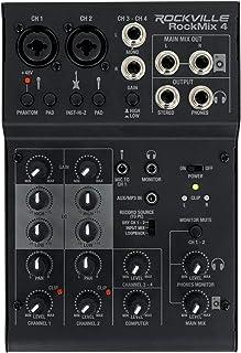Rockville RockMix 4 声道麦克风/仪器 专业录音混音器 + USB 接口 / EQ