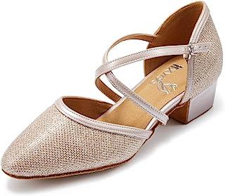 HXYOO 闭趾低跟闪光交际舞鞋适合女士萨尔萨舞拉丁婚礼派对 2 英寸高跟鞋 S11