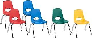FDP 12 英寸(约 30.5 厘米)学校堆叠椅,堆叠学生座椅,带镀铬钢腿和尼龙旋转滑轨;适用于家庭学习或课堂 - 各种颜色(6 件装)