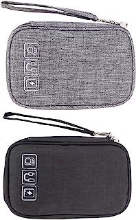 电子收纳包,小型便携式电子配件,2 个笔记本电脑的旅行存储袋,电缆收纳袋和保护套,通用电子包用于电源线、手机、耳机存储袋。