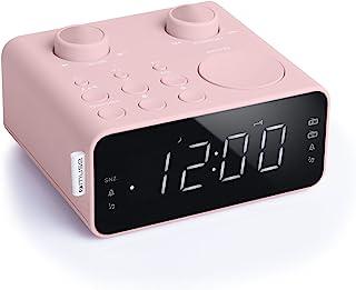 Muse M-17 CPK 收音机闹钟,带 LED 显示屏,两个闹钟时间,可调光(FM,MW,AUX,电台存储),粉红色