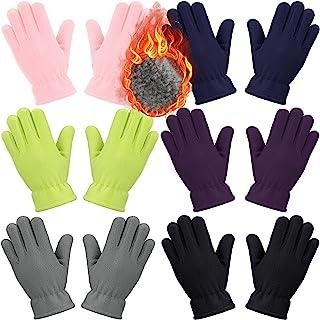6 双装儿童羊毛手套全指手套冬季柔软保暖手套,适合男孩女孩户外活动