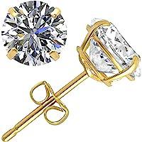 14k 或 10k 黄金或白金圆形耳钉镶嵌正品施华洛世奇锆石 | 0.50 至 3.0 克拉 | 附礼品盒 | 金耳钉…