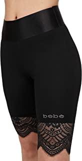 bebe 女式标志基本款夏季短裤蕾丝高腰打底裤适合女士自行车短裤