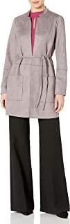 Nine West 女士立领水肺绒面革夹克,带束腰细节