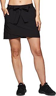 RBX Active 女式高尔夫/网球日常休闲运动短裙,带自行车短裤