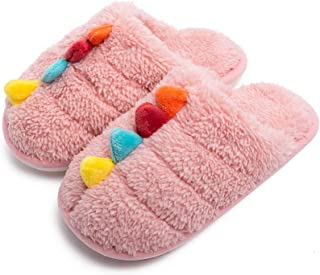 男孩女孩温暖羊毛拖鞋彩虹色家居拖鞋可爱动物毛绒一脚蹬儿童冬季室内家居鞋