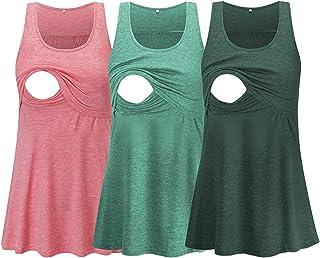 Glampunch 孕妇护理上衣无袖舒适哺乳背心 T 恤孕妇 T 恤, Z-Heather 粉色/*/Hunterbr *, X大码