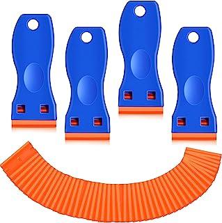 塑料剃刀刮刀,4 件刮刀工具,带 100 件塑料刀片,双刃刮刀刮刀清洁刮刀去除器,适用于贴纸、贴花、粘合剂、标签、油漆、玻璃、汽车