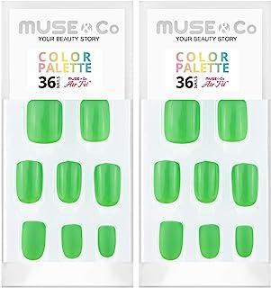 MUSE & Co 粘胶 36 个乳甲 中等长度光泽哑光青柠色眼影盘(2 件装)