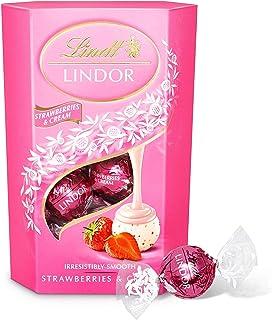 Lindt Lindor 草莓奶油巧克力松露盒 - 约16个球,200克 - 理想的礼物 - 巧克力球,带光滑熔化填充