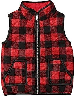 幼儿女婴格子绗缝背心外套夹克无袖马甲保暖冬季外套