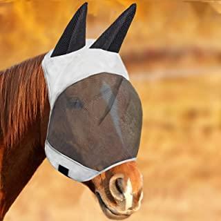 Horses Fly 面具,柔软的面料和长耳,保护马的脸和*(灰/钴)