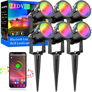 LEDVIE 15W RGB 低电压景观灯,6 件装蓝牙 LED 景观照明户外 RGBW LED 景观灯防水应用控制 2700K 暖白色,1600 万色,定时,音乐同步