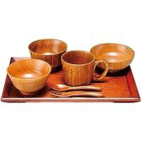 Nagao 吃饭初级 木制婴儿餐具 7pcs 礼盒套装