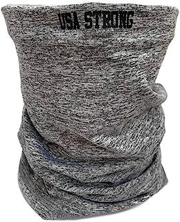 """""""USA STRONG""""标志   浅灰色   颈圈多功能头巾面罩覆盖头饰& PM 2.5 活性炭过滤器适用于男士、女士和儿童  1 件颈套 + 5 个碳过滤器"""