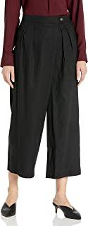 ECI New York 女式七分阔腿亚麻混纺带纽扣长裤
