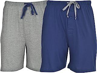 Hanes 男式 2 件装针织棉无感标签*休闲抽绳短裤