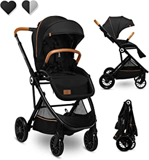Lionelo Dani 婴儿车,可向前和向后座椅,躺卧位置,EVA 泡沫轮可调节手柄,脚背盖(黑色)