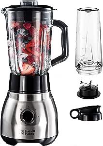 Russell Hobbs 钢制立式搅拌机 2合1,包括 To-Go 杯子和盖,1.5升玻璃容器,搅拌机 0.8 马力,脉冲/冰压功能,迷你冰沙机 23821-56