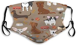 ETHAICO 成人和儿童填充布,可爱有趣的狗、动物狗、宠物小狗,可重复使用的防风布半脸双重保护
