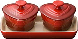 Le Creuset 耐热容器 小型心形可叠餐蛋糕蒸碗套装 樱桃红 耐热耐冷 可使用微波炉&烤箱