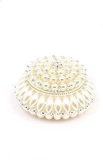 VI N VI 珍珠首饰盒饰品盒礼品适用于特殊场合 珍珠圆形   手绘收藏品 雕像和装饰珠宝展示架,支架和收纳盒