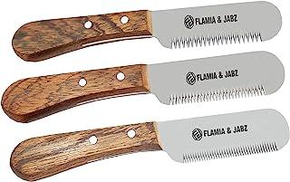 FLAMIA & JABZ 专业狗狗*手撕刀,剥离器修剪工具,红色 Meranti 木柄防滑手柄带不锈钢刀片(3 件装,右手)