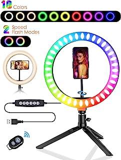 自拍环灯,BlitzWolf 10.2 英寸 LED 环灯,可调光10 种 RGB 颜色和 10 种亮度级别,自拍环灯带三脚架,用于化妆现场流媒体 YouTube 视频摄影