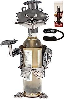 精美的猫女学家雕像佩戴厨师帽并持一盘鱼,纯手工制作*瓶架,*瓶架,葡萄箔切割器和*瓶塞