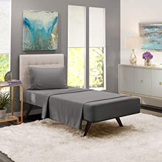 JS Sanders Affordable Microfiber 4 PC Bed Sheet Set - Twin Size, Gray
