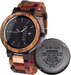 雕刻木制手表定制个性化木制手表,适用于男友、My Man Fiancé 丈夫生日周年纪念