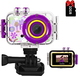 Luoba 女童儿童相机,防水相机,适合 3-10 岁女童男孩生日玩具礼品儿童水下动作相机幼儿迷你视频录像机,带 32GB SD 卡(紫色)